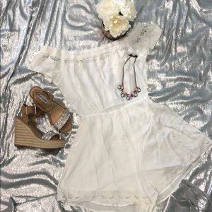 Soft white summer romper